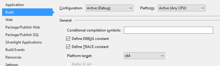 64-bit build option for the solution in Visual Studio