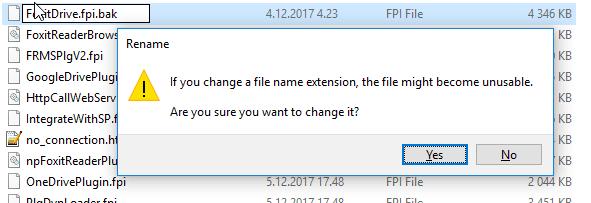 Renaming Foxit Drive plugin