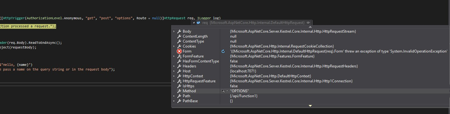 My Azure Function did catch a request with OPTIONS method! Now what to do with it?