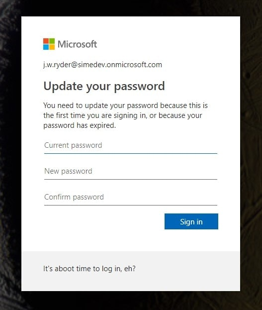 Azure AD's prompt for changing an expired password in Office 365