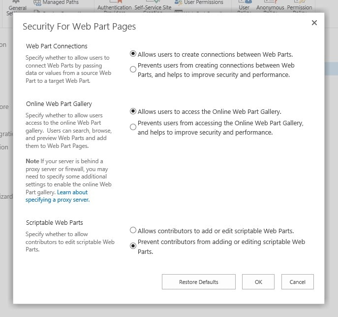 "SharePoint Server has this ""Security For Web Part Pages"" dialog for Web Applications - it's used to set the similar ""Custom Scripting"" options, as on SharePoint Online."